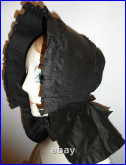 Antique 1800s Civil War Black Mourning Poke Bonnet Victorian Ruffle Trim Hat