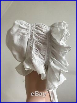 Antique 1800s Linen Bonnet Bridal Lace Hat Boudoir Cap Pristine Beauty