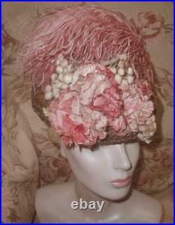 Antique 1880s Victorian Mauve Pink Hat w Flowers, Ostrich Plumes, Silk Berries VG
