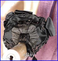 Antique 1880s Victorian Straw Bonnet Hat W Floral & Satin Ribbon Trims
