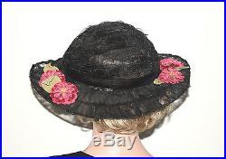 Antique 1900's 1910's Edwardian Wide Brim Silk Chiffon Lace Hat With Flowers