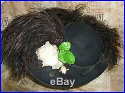 Antique 1900s Edwardian Hat Ostrich Plumes Flowers Jonquil Original-Paris