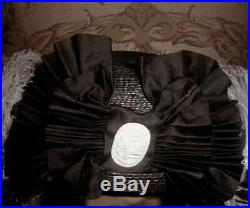 Antique 1912 Edwardian Hat w Huge Ostrich Plumes, Silk Bow, Brooch 6th Ave NY