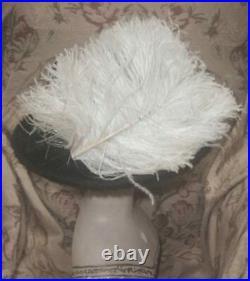 Antique 1912 Edwardian WIDE BRIM Hat w Big Cream Ostrich Plumes, Buckle, Spangles