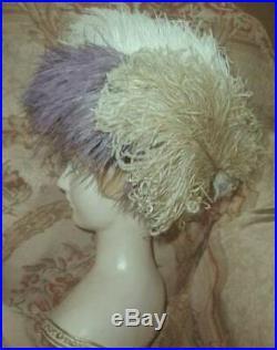 Antique 1916 Suffragette Hat Purple Green White Ostrich Plumes Deep Cloche