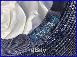 Antique 1920 Fleur De Paris French France New Orleans Navy Blue Ladies Derby Hat