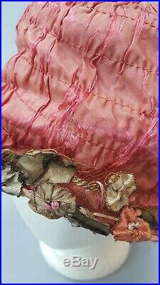 Antique 1920s Lame Pink Silk Ribbonwork Flowers Hedrick Hat Cloche Vintage 20s