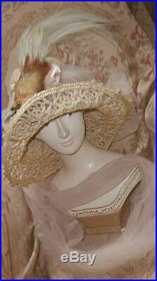 Antique Bird Of Paradise Wide Brim Hat w Pink Tulle Scarf Plumes & Bird Head