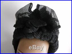 Antique Black Edwardian Silk Lady's Hat Adorned With Lace