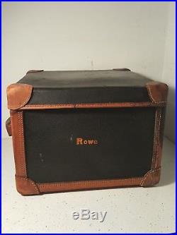 Antique Black Leather binding Square Ladies Hat Box Luggage Suitcase Vintage