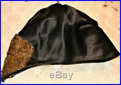 Antique Black Satin Cloche Flapper Hat Beaded 1920's Downton Abbey Era