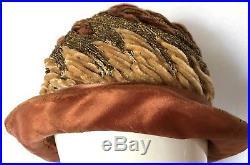 Antique Brown/Copper Silk Flapper Cloche Hat Art Deco Chenille