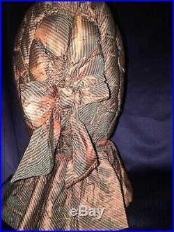 Antique C1860 Hand Stitched Changeable Striped Silk Ladies Bonnet Hat Ex Cond