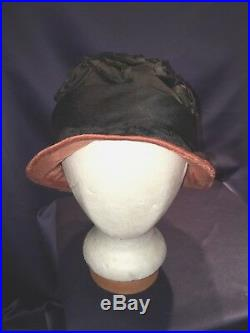 Antique C1920 Helmet Cloche Hat Black Silk Ribbon Bows w Coral Silk Brim