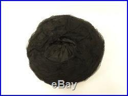 Antique EDWARDIAN Silk HAT BLACK Ruched Silk Chiffon Wide Brim Red Rose