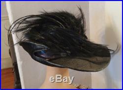 Antique Edwardian Black Straw Hat Wide Brim w Feathers & Double side Hat Pin