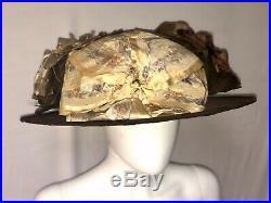 Antique Edwardian Hat 1910s Blooming Roses Brown Velvet