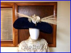 Antique Edwardian Hat 1910s Wide Brim Fur Felt Egret Plumes