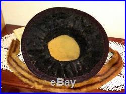 Antique Edwardian Hat Large Wide Brim Fur Felt Dove Wings Millinery Roses