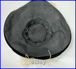 Antique Edwardian Hat Lot Of 2 Wide Brim Black Velvet Feathers Euc