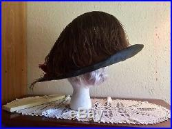 Antique Edwardian Hat Opulent Oversized Velvet Hat Ca. 1912 Merry Widow Plume