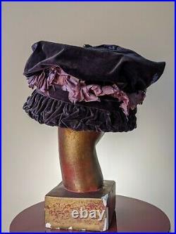 Antique Edwardian Hat Purple Bird Of Paradise 1900 1910 Titanic Era Belle Époque
