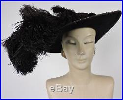 Antique Edwardian Massive Brim Velvet Hat W Ostrich Plume Trims