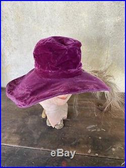 Antique Edwardian Purple Silk Velvet Wide Brim Hat White Feather Plumes Vintage
