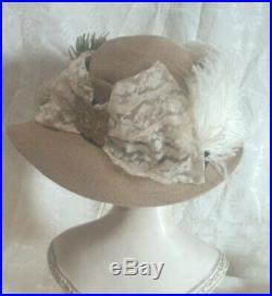 Antique Edwardian Wide Brim Straw Hat Ostrich Plumes Purple Flowers Lace Brooch
