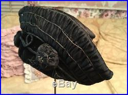 Antique Edwardian ladies hat Metal Work Ribbon Work Rosettes Black Velvet #D