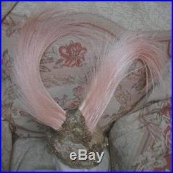Antique FRENCH 1910s PINK EGRET PLUMES & Metallic Gilt Lace Bandeau PARIS Stage