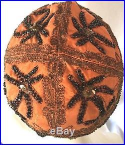 Antique Flapper Cloche Hat Art Deco'Aerial' Orange Silk Gold Thread & Blk Beads