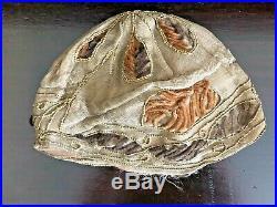 Antique Flapper Hat 1920s Helmet Cloche Cord Work Silk Chenille Embroidered Rare