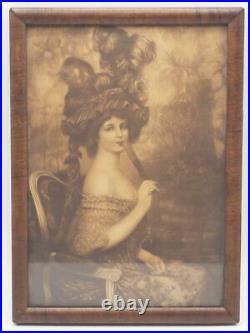 Antique Framed Print Woman in Plumed Hat with Fan