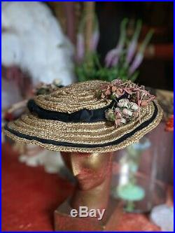 Antique French Hat Edwardian Straw Pink Flowers Antique Millinery 1900s 1910s
