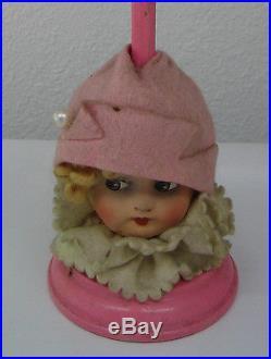 Antique German pink paper mache head hat stand large head