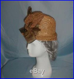 Antique Hat 1870 Tall Crown Victorian Straw Hat Ribbon Trim