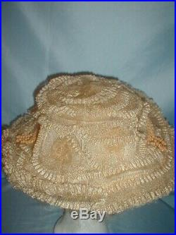 Antique Hat 1890's Tan Horsehair Straw Victorian Hat