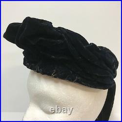 Antique Hat 1890s Victorian Womens Angled Dark Midnight Blue Velvet Chin Straps