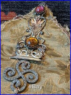 Antique Hat 1900s 1910s Theater Stage Hat Silk Brocade Jewelled Ziegfeld Follies
