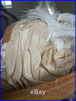 Antique Hat 1910s Dress Wide Brim Straw Hat with Ostrich Feathers Silk Interior