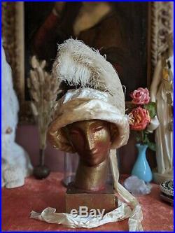 Antique Hat 1910s Velvet Bonnet Ostrich Feather Plume Edwardian Era Millinery