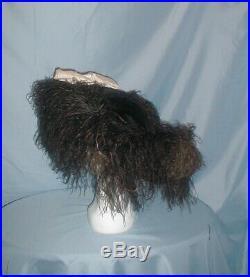 Antique Hat 1912 Edwardian Black Velvet Huge Brim Ostrich Feather Trim