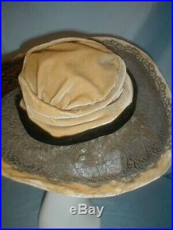 Antique Hat 1912 Edwardian Gold Velvet and Lace Hat