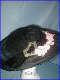 Antique Hat 1912 Edwardian Huge Brim Black Net Lace Floral Trim