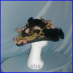 Antique Hat Edwardian 1912 Huge Brim Black Velvet and Lace Floral and Bow Trim