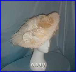 Antique Hat Edwardian 1912 Wide Brim White Lace and Chiffon Feather and Floral