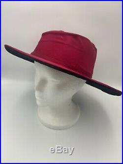Antique Hat Fuchsia Silk Black Velvet Wide Brim Edwardian Victorian