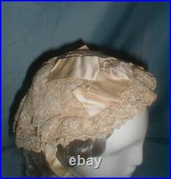Antique Hat Victorian 1860's Lace Cap Headdress Ribbon Trim