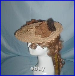 Antique Hat Victorian 1860's Straw Ribbon Straw and Feather Trim
